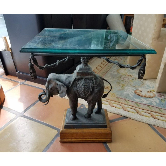 1970's Vintage Maitland Smith Bronze Leather & Glass Elephant Table For Sale In Miami - Image 6 of 13