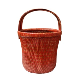 Handmade Round Shape Village Red Color Bamboo Rattan Food Bucket With Handle For Sale