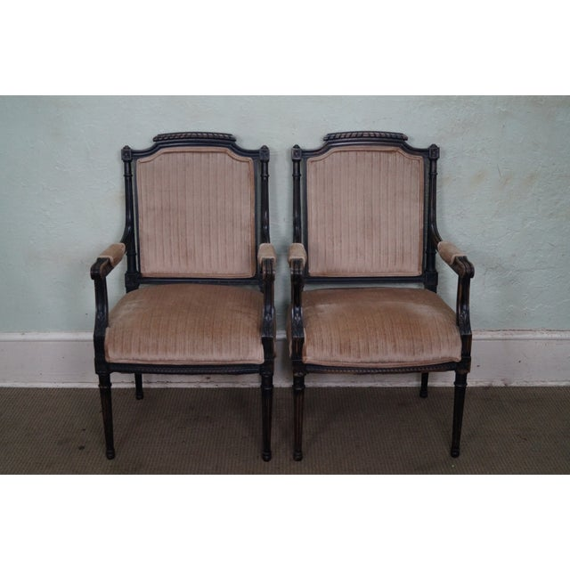 Store Item #: 15058 Custom Quality French Louis XVI Style Arm Chairs AGE/COUNTRY OF ORIGIN: Approx 50 years, America...