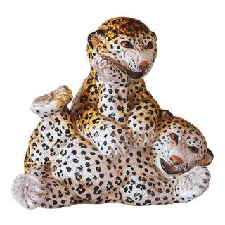 1960s Italian Terra Cotta Leopard Cubs