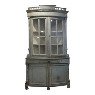 Late 18th Century Distressed Carved Wood and Curved China Cabinet For Sale