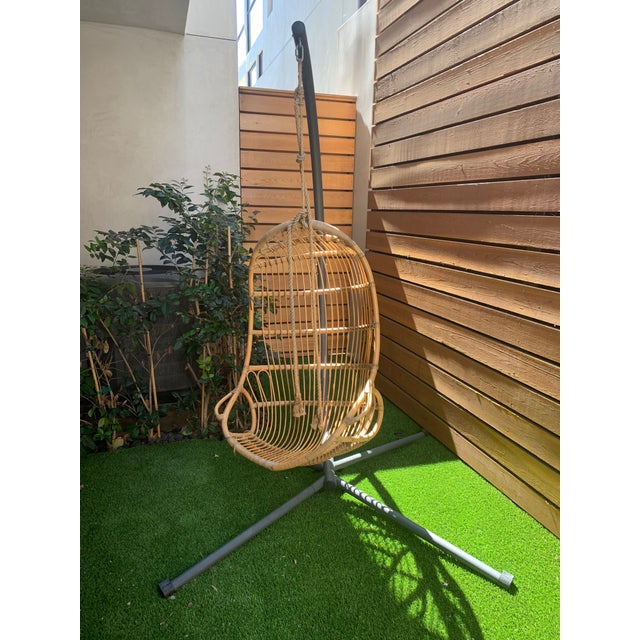 2010s Modern Serena & Lily Hanging Rattan Chair & Base For Sale - Image 5 of 5