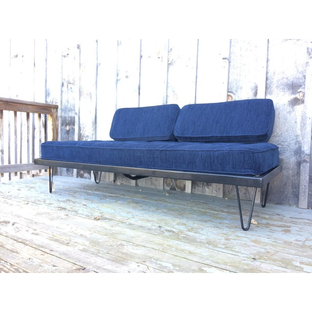 Restored Mid-Century Daybed in Indigo For Sale - Image 4 of 10