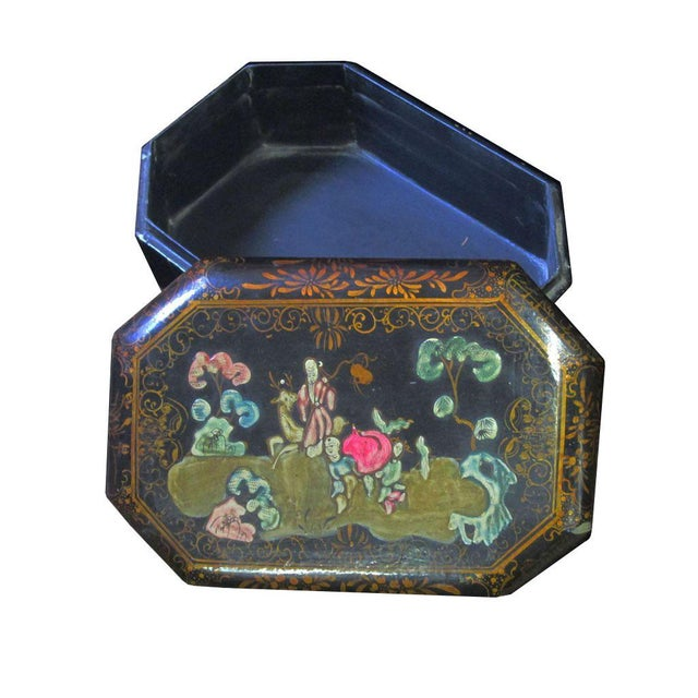 Vintage Handmade Chinese Octagon Painting Scenery Decorative Lacquer Box For Sale - Image 5 of 6