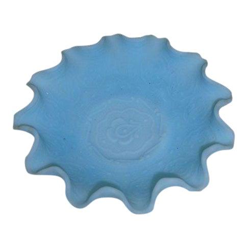 Fenton Blue Satin Glass Ruffled Bowl - Image 3 of 4