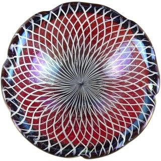 Murano Vintage Red Orange Iridescent Roticello Ribbons Italian Art Glass Decorative Bowl For Sale