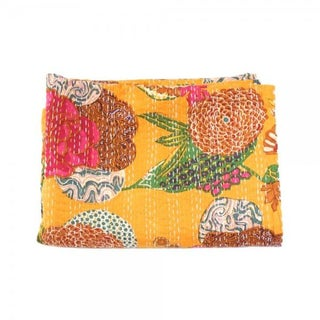 Yellow Floral Kantha Throw - Queen For Sale