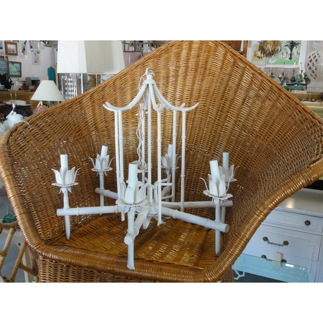 Faux Bamboo Vintage Pagoda Chandelier - Image 4 of 7