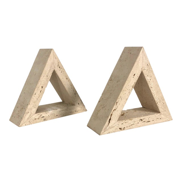 1960s Fratelli Mannelli for Raymor Triangle Travertine Bookends - a Pair For Sale