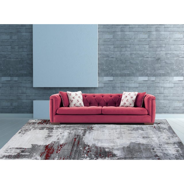 """Contemporary Gray & Red Abstract Rug - 6'7"""" x 9'7"""" - Image 7 of 8"""