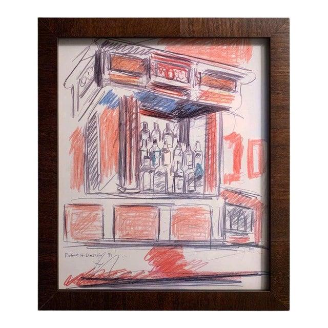 Robert De Niro Sr. Iconic Maxwell Mahogany Bar Sketch For Sale
