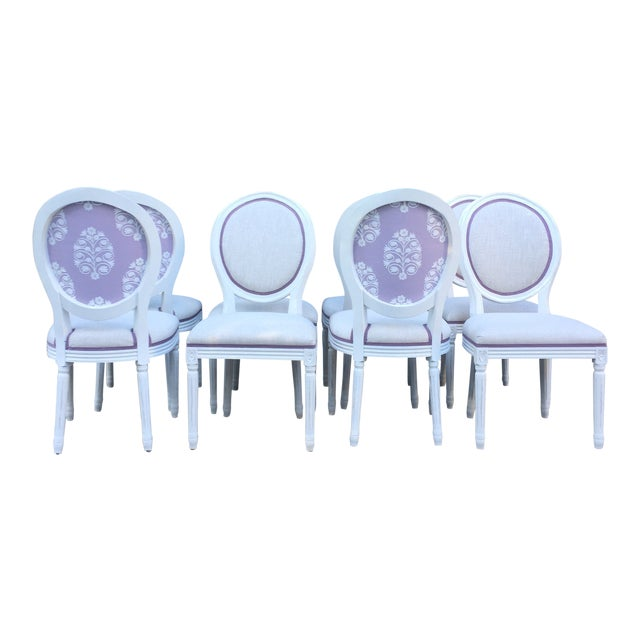 Modern Custom-Upholstered Louis-Style Round Dining Side Chairs- Set of 8 For Sale