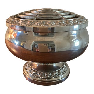 1950s English Silverplate Flower Bowl For Sale