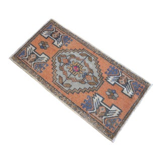 Distressed Low Pile Turkish Yastik Petite Rug Hand Knotted Faded Mat - 1'8'' X 3' For Sale