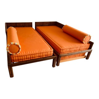 Chinese Natural Bamboo and Woven Rattan Bahama Trundle Beds - a Pair For Sale