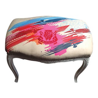 Contemporary White Lacquer Printed Bench