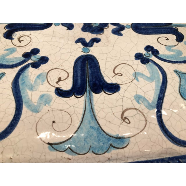 1950s Italian Blue and White Ceramic Garden Seat/Side Table For Sale - Image 5 of 12
