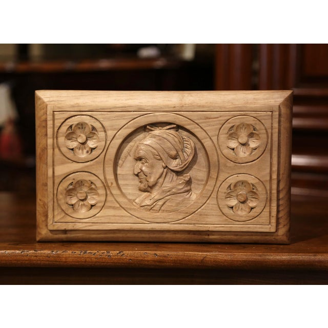 Art Deco Early 20th Century French Carved Chestnut Box From Brittany Signed E. Bayon For Sale - Image 3 of 10