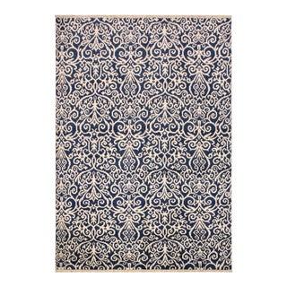 Cryena Modern Yajaira Blue/Ivory Wool & Viscouse Rug - 5'0 X 7'0 For Sale