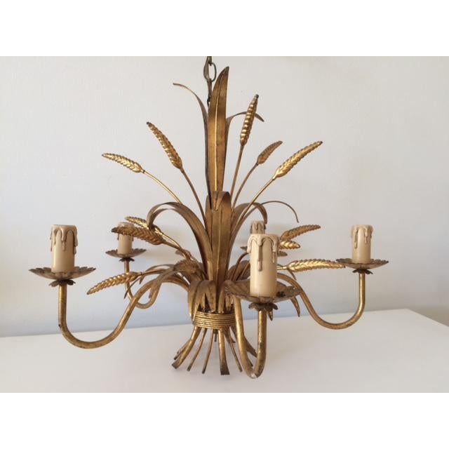 Vintage Hollywood Regency Gilt Wheat Metal Chandelier - Image 10 of 10