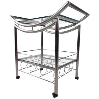 Contemporary Steel Bar Cart For Sale