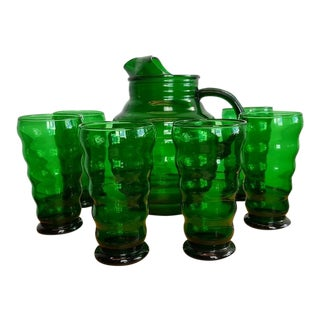 Vintage Emerald Green Pitcher & 6 Glasses