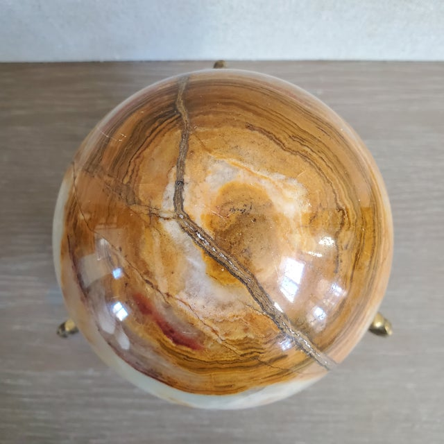 Italian Marble Sphere With Brass Base For Sale In Dallas - Image 6 of 9