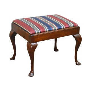 Hickory Chair Solid Mahogany Queen Anne Stool or Small Bench