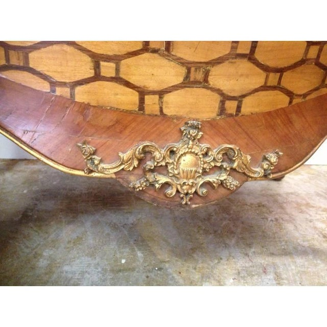 Italian Rococo Style Inlaid Bombe Commode, Late 19th Century For Sale - Image 4 of 5