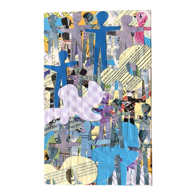 """Original Contemporary Abstract Wayne Cunningham """"Hands Across America """" Collage For Sale"""