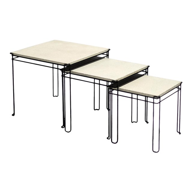 Featured in The 2020 San Francisco Decorator Showcase — 1960s Mid-Century Modern White Plaster & Black Wire Nesting Tables - Set of 3 For Sale