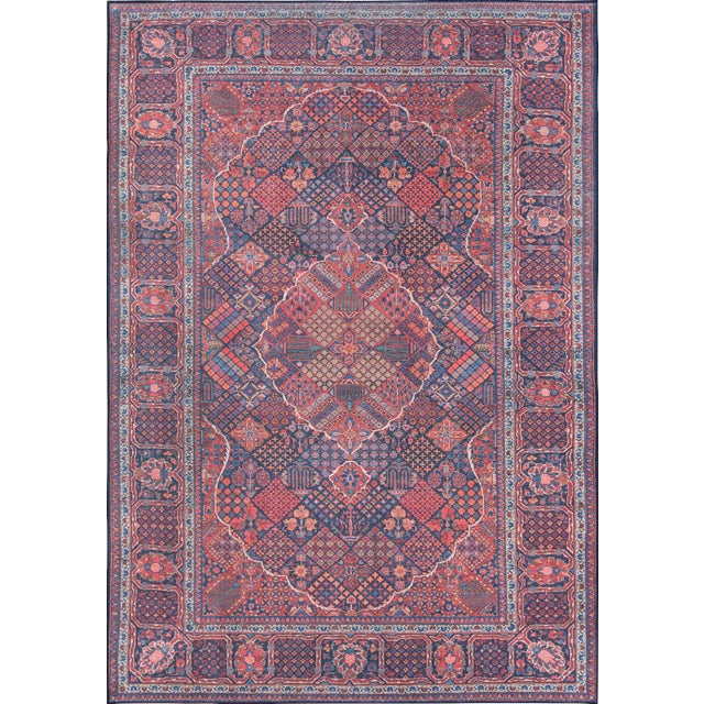 "Traditional Momeni Afshar Polyester Navy Area Rug - 7'6"" X 9'6"" For Sale"