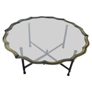1960s Modern Baker Brass Tray Coffee Table For Sale
