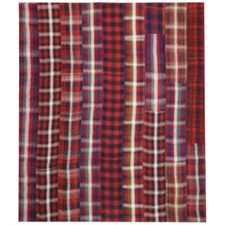 Vintage Plaid Kilim Rug With Timeless Tartan Charm and Luxe Ralph Lauren Style - 12′11″ × 15′2″ For Sale