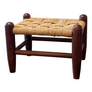 Mid Century Woven Rattan Footstool Ottoman For Sale