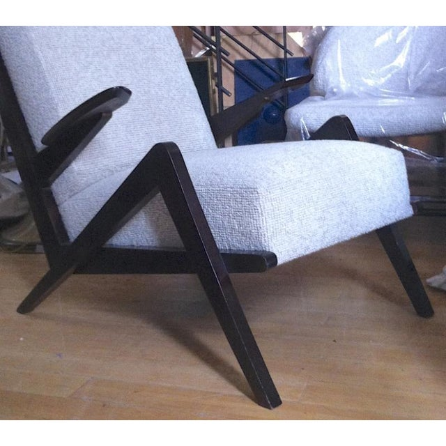 "Contemporary Grasshopper"" Italian Oak 1950s Armchairs, Newly Recovered in Maharam Boucle For Sale - Image 3 of 5"