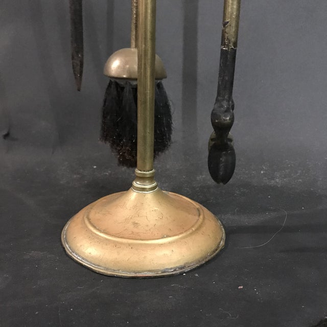 Modern 1950's Three Piece Set of Brass Over Cast Iron Fireplace Tools with Stand - 4 Pieces For Sale - Image 3 of 10