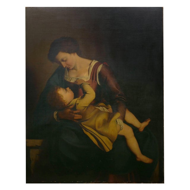 """""""Madonna & Child"""" 19th Century Copyist Oil Painting After Orazio Gentileschi For Sale - Image 13 of 13"""