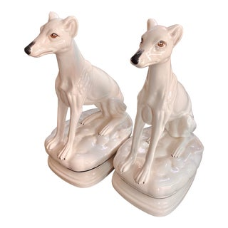 Vintage Italian Whippet Greyhound Statues - a Pair For Sale