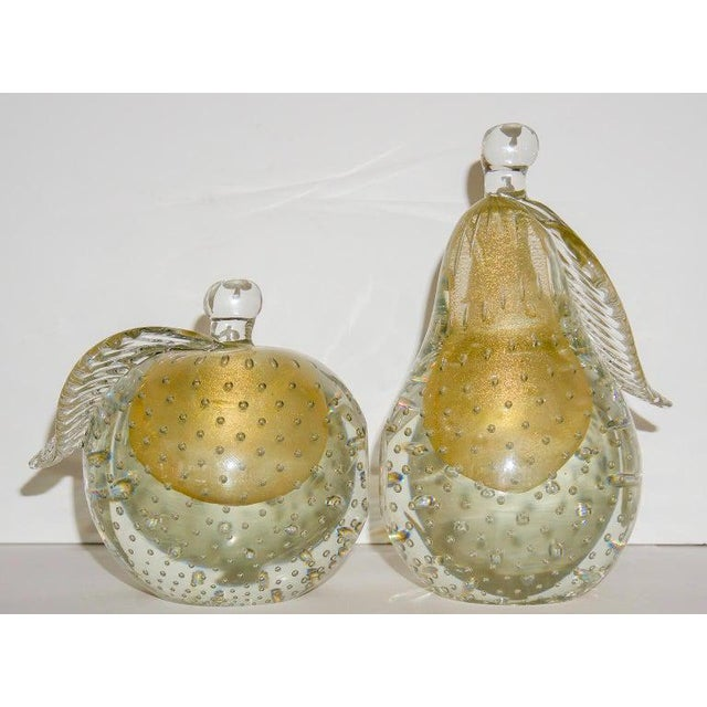 Barovier eToso Murano Glass Pear & Apple Gold Flecked Controlled Bubbles Bookends - a Pair For Sale - Image 12 of 12
