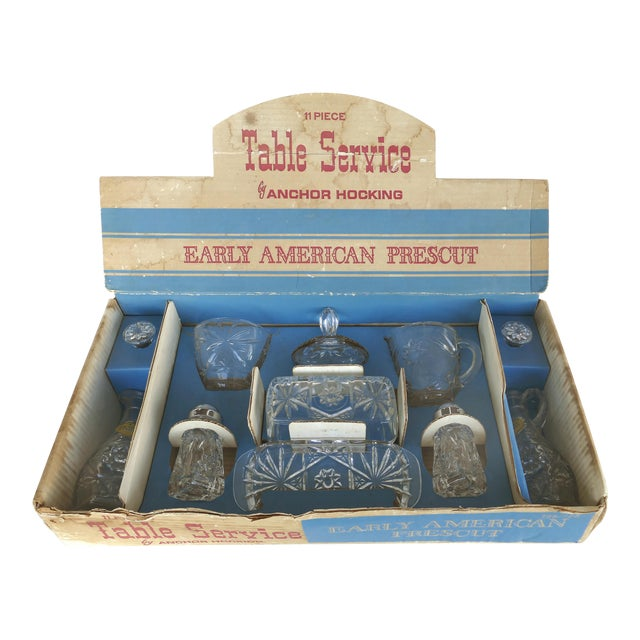 Anchor Hocking Prescut Early American Glass Serving Set-Set of 7 For Sale