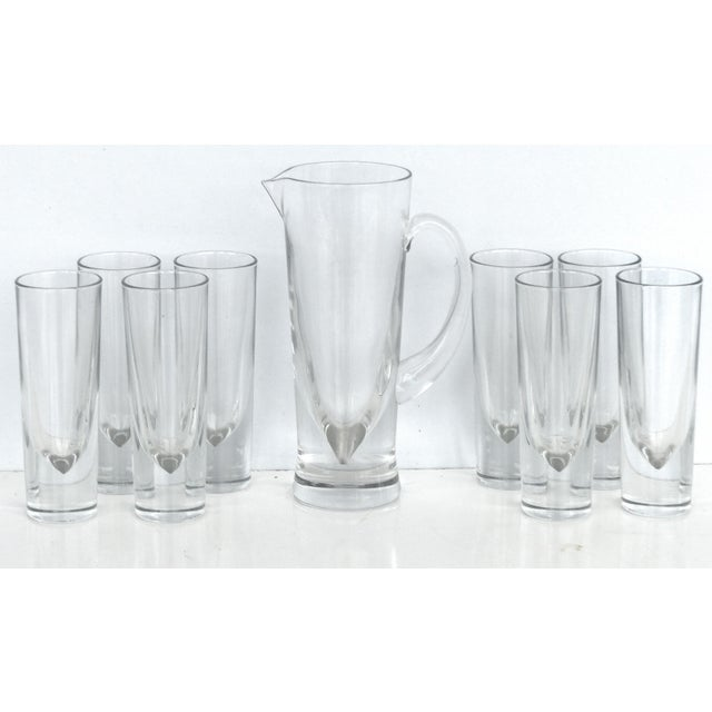 Transparent Italian Carlo Moretti Weighted Pitcher & Glasses - Set of 9 For Sale - Image 8 of 8