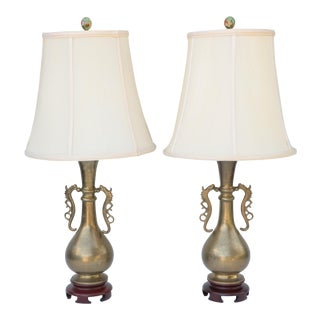 Dragon Handled Brass Table Lamps - a Pair For Sale
