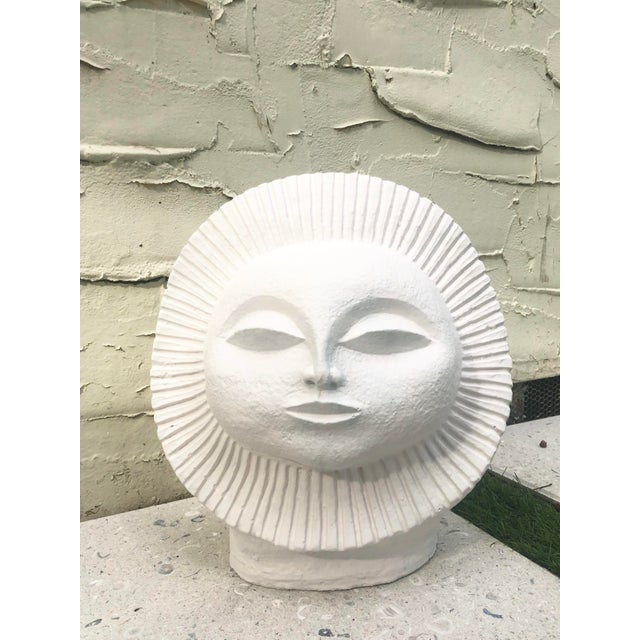 Paul Bellardo sun sculpture from Austin Productions. Painted in matte white, stone and very heavy. For lovers of mid-...