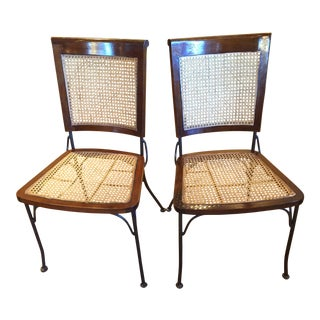 Grange French Country Caned Dining Chairs - a Pair For Sale