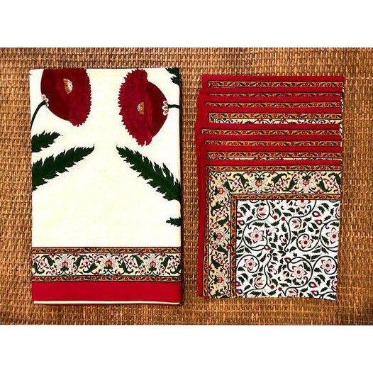 Textile Brigitte Singh Hand Block Printed Tablecloth and Napkins - Set of 9 For Sale - Image 7 of 7