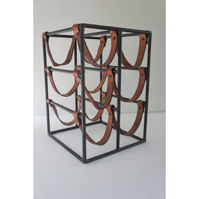 1960s Mid-Century Modern Arthur Umanoff Sculptural Wrought Iron and Leather Wine Rack For Sale - Image 5 of 13