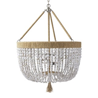 "Malibu 18"" Chandelier - White Swirl / Brass / Natural For Sale"