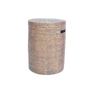 Artifacts Rattan Round Lidded Hamper For Sale