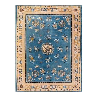 "Apadana - Vintage Beige and Blue Chinese Art Deco Carpet, 8' X 10'6"""